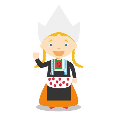 Carattere da Olanda o Olanda vestito nell'illustrazione vettoriale modo tradizionale. I bambini della Collezione mondo. Vettoriali