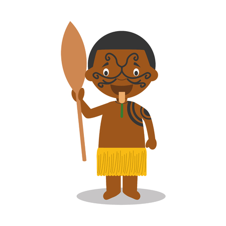 maori: Character from New Zealand dressed in the traditional way of the Maori tribe. Vector Illustration. Kids of the World Collection. Illustration
