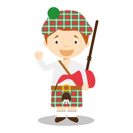 gaita: Carácter de Escocia vestido de la manera tradicional con falda escocesa y la gaita. Ilustración del vector. Los niños de la colección del mundo.