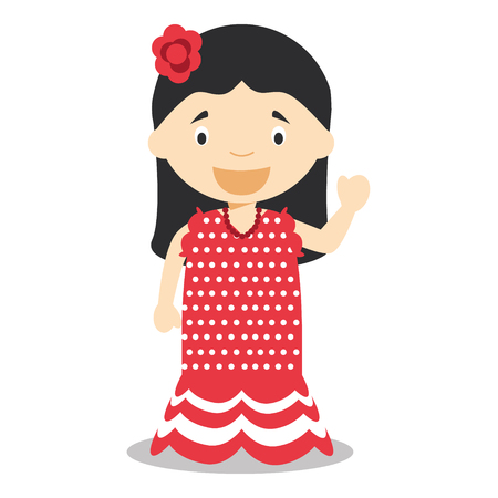 vestment: Character from Spain dressed in the traditional way as flamenco dancer. vector Illustration