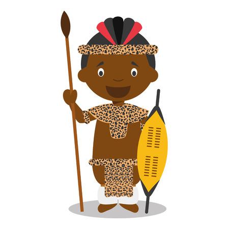 Personage uit Zuid-Afrika. Zulu jongen gekleed in de traditionele manier van de zulu stam. Vector Illustratie. Kinderen van de wereld collectie. Stockfoto - 51545760