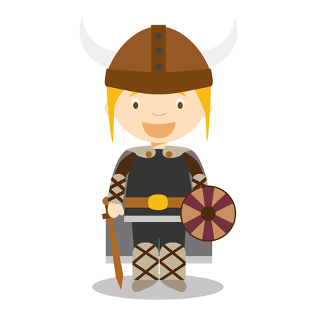 vestment: Character from Sweden, Norway or Scandinavia. Viking boy dressed in the traditional way Vector Illustration. Kids of the World Collection. Illustration