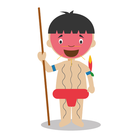 vestment: Character from Venezuela dressed in the traditional way as a Yanomami indigenous. Vector Illustration. Kids of the World Collection.
