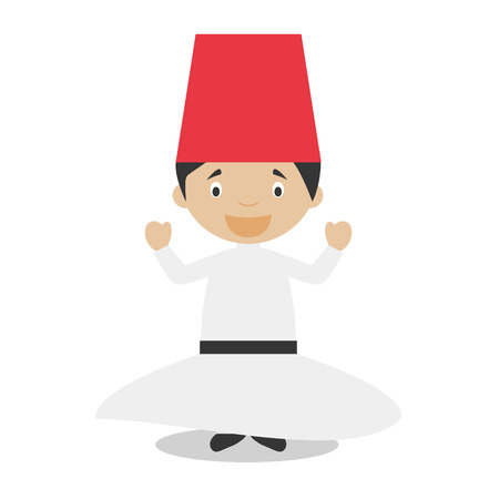 vestment: Character from Turkey. Whirling Dervishes dressed in the traditional way Vector Illustration. Kids of the World Collection.