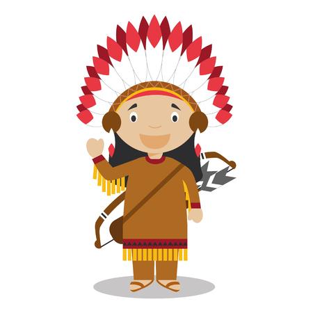 Carattere da Stati Uniti vestito in modo tradizionale degli Indiani d'America. Illustrazione vettoriale. I bambini della Collezione mondo.