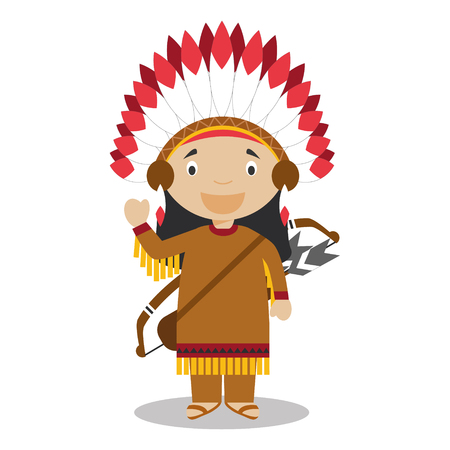 vestment: Character from United States dressed in the traditional way of the American Indians. Vector Illustration. Kids of the World Collection.