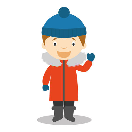 south pole: Character from South Pole, Arctic or Antarctica dressed in the traditional way Vector Illustration. Kids of the World Collection.