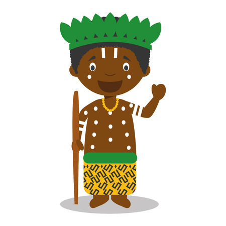 typical: Character from Congo dressed in the traditional way Vector Illustration. Kids of the World Collection.