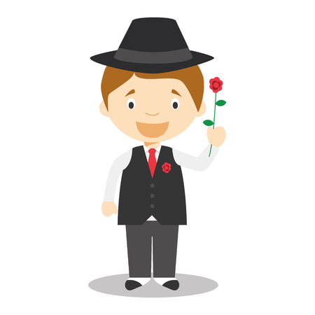 gallant: Character from Argentina dressed in the traditional way as a tango dancer with a rose. vector Illustration Illustration