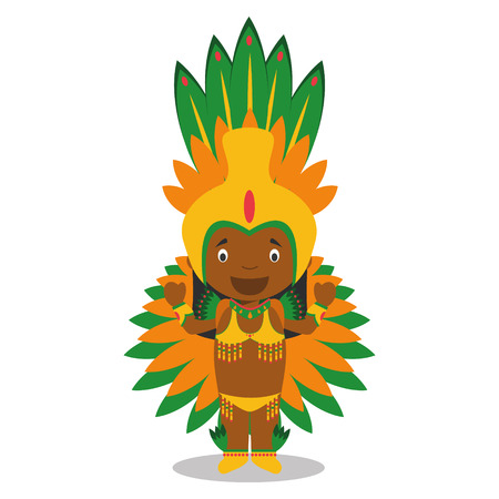 typical: Character from Brazil dressed in the traditional way as a Carnival dancer. Vector Illustration. Kids of the World Collection. Illustration