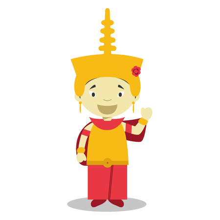 vestment: Character from Cambodia dressed in the traditional way Vector Illustration. Kids of the World Collection. Illustration