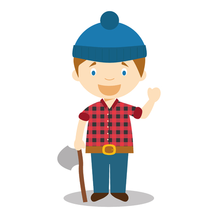 woodcutter: Character from Canada dressed as a woodcutter Vector Illustration. Kids of the World Collection. Illustration