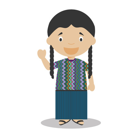 vestment: Character from Guatemala dressed in the traditional way Vector Illustration. Kids of the World Collection.
