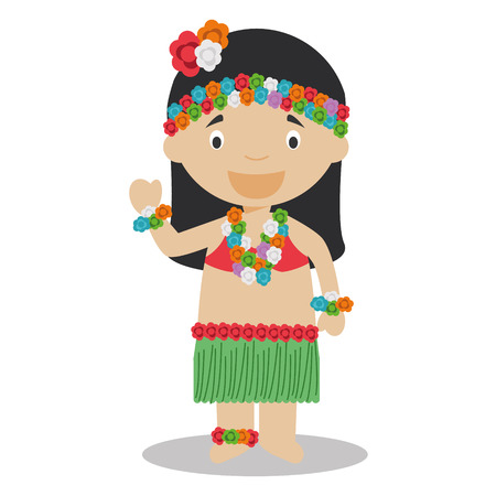 typical: Character from Hawaii dressed in the traditional way Vector Illustration. Kids of the World Collection.