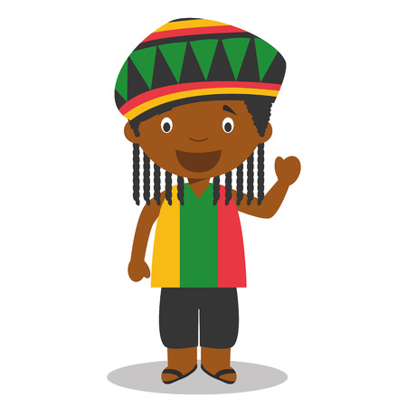 vestment: Character from Jamaica dressed in the traditional way With dreadlocks. Vector Illustration. Kids of the World Collection. Illustration