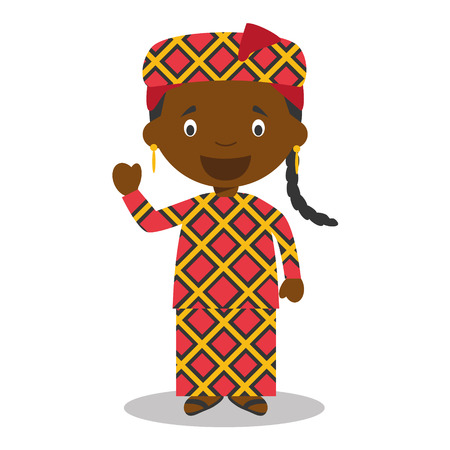 bamako: Character Central Africa from Mali or dressed in the traditional way Vector Illustration Illustration