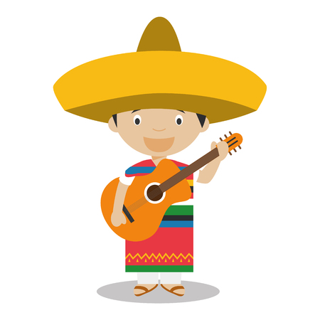 typical: Character from Mexico dressed in the traditional way with guitar. Vector Illustration. Kids of the World Collection.
