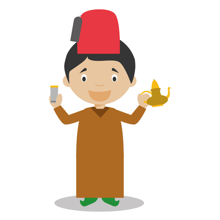 Charakter aus Marokko auf traditionelle Weise mit einem Tee-Set gekleidet. Vektor-Illustration. Kinder der Welt Sammlung.