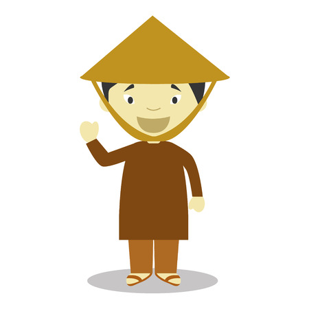 asian farmer: Character from Vietnam dressed in the traditional way Vector Illustration. Kids of the World Collection. Illustration