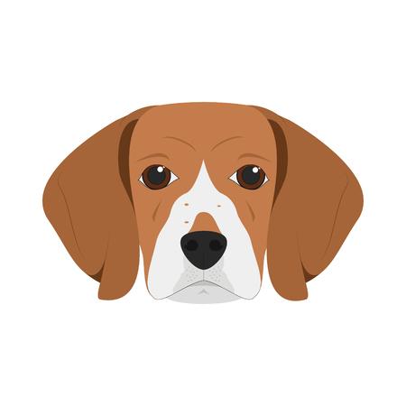 白い背景のベクトル図に分離されたビーグル犬
