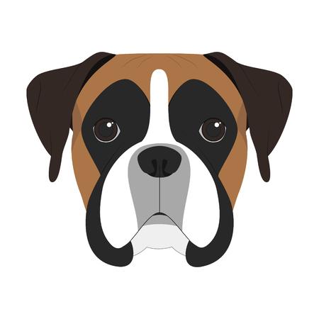 白い背景のベクトル図に分離されたボクサー犬