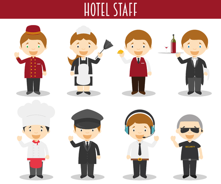 hotel staff: Vector Set of Hotel Staff Professions in cartoon style
