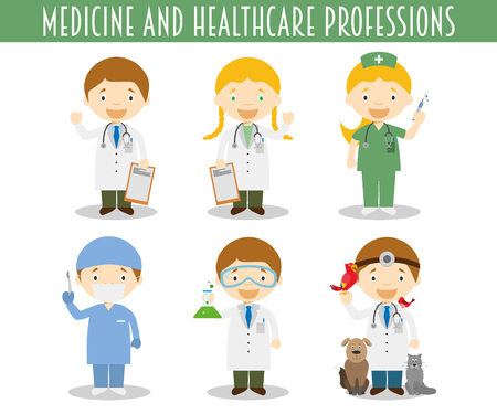Vector Set of Medicine and Healthcare Professions in cartoon style Vettoriali