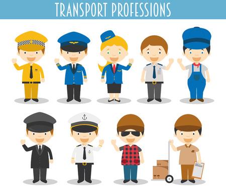 Vector Conjunto de Profesionales de Transporte en el estilo de dibujos animados