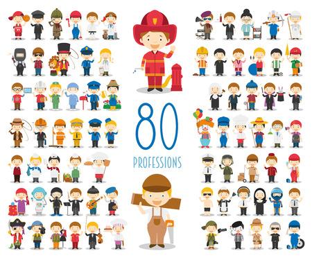 Niños caracteres del vector Colección: Conjunto de 80 profesiones diferentes en estilo de dibujos animados.