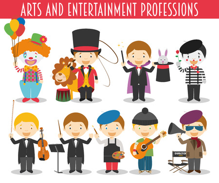 arts and entertainment: Vector Set of Arts and Entertainment Professions in cartoon style