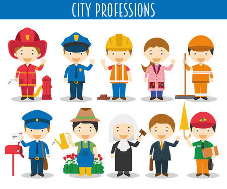 touristic: Vector Set of City Professions in cartoon style Illustration