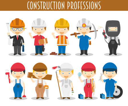 Vector Set of Construction Professions in cartoon style