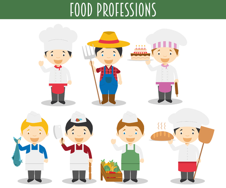 Vector Set of Food Industry Professions in cartoon style