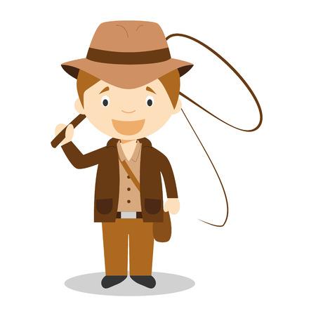Cute cartoon vector illustration of an Adventurer Vectores