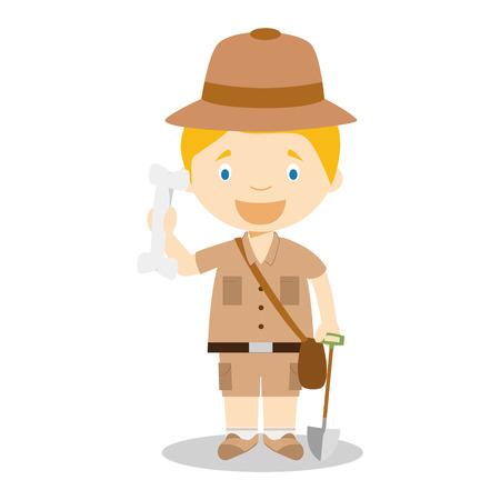 archeologist: Cute cartoon vector illustration of an archaeologist