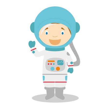 spacesuit: Cute cartoon vector illustration of an astronaut