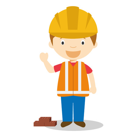 Cute cartoon vector illustration of a builder