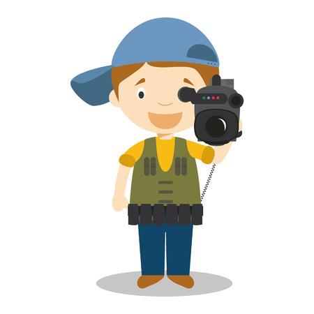 Cute cartoon illustrazione vettoriale di un cameraman Vettoriali