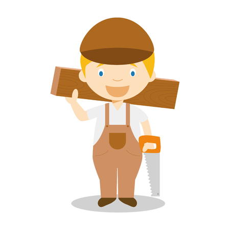 Cute cartoon vector illustration of a carpenter
