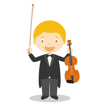 violinist: Cute cartoon vector illustration of a classic musician or a violinist