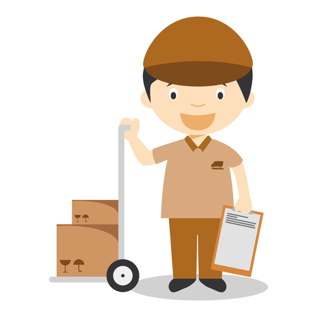 Cute cartoon vector illustration of a courier or a carrier Illustration