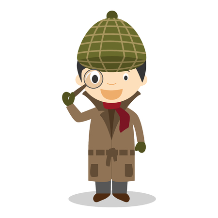 crime solving: Cute cartoon vector illustration of a detective