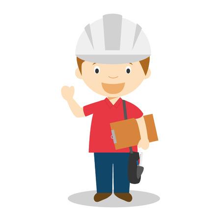 inspector kid: Cute cartoon vector illustration of an engineer