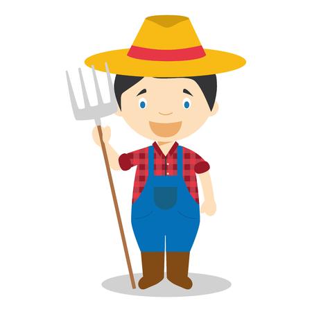 Cute cartoon vector illustration of a farmer