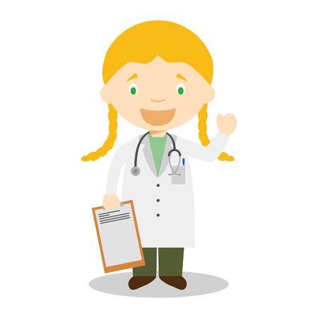 Cute cartoon vector illustration of a female doctor Vettoriali