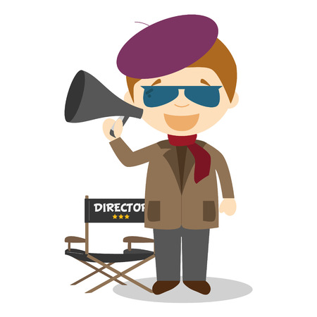 filmmaker: Cute cartoon vector illustration of a filmmaker