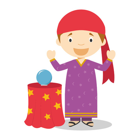 Cute cartoon vector illustration of a fortune teller