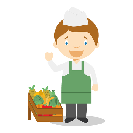 apples and oranges: Cute cartoon vector illustration of a fruit seller