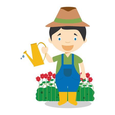 Mignon vecteur de bande dessinée illustration d'un jardinier