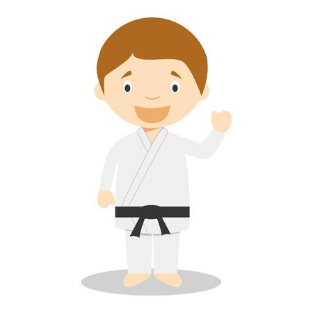 karateka: Cute cartoon vector illustration of a karateka